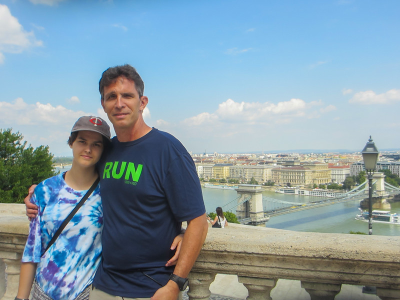 looking across the Danube from the Buda Palace.  Chain Bridge and Parliament in the background.