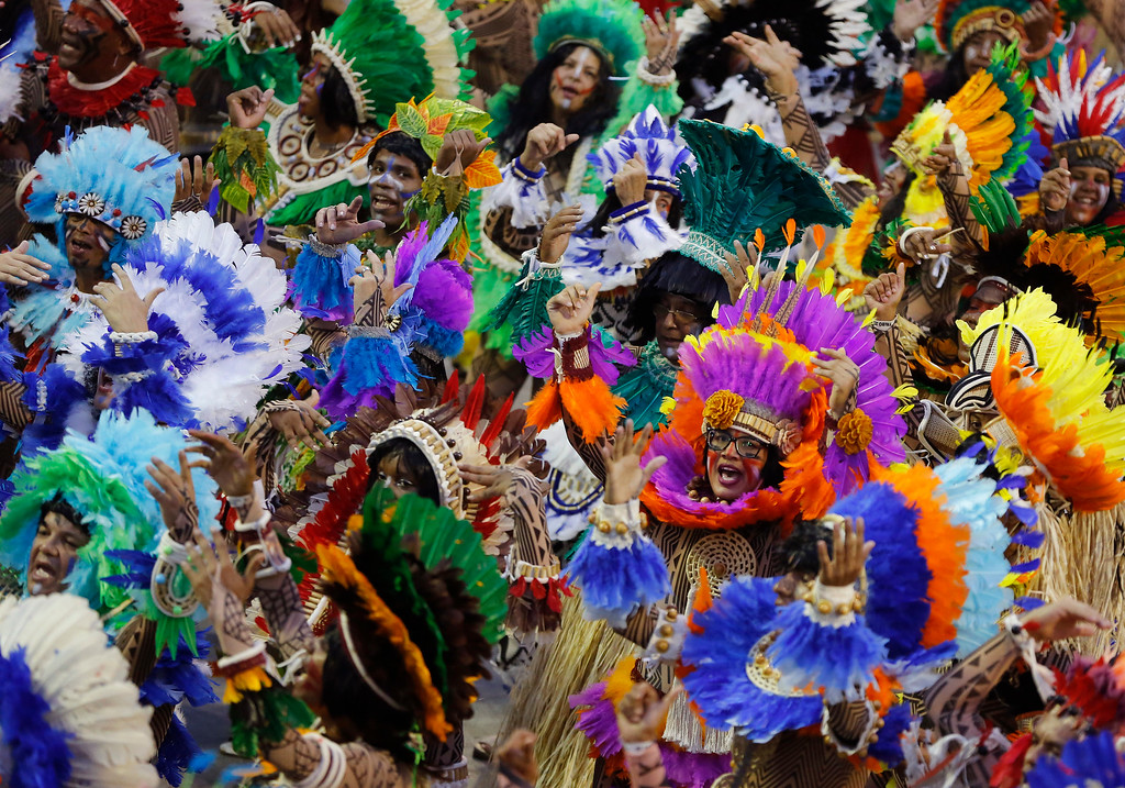 . Performers from the Beija Flor samba school parade during Carnival celebrations at the Sambadrome in Rio de Janeiro, Brazil, Monday, Feb. 27, 2017. (AP Photo/Leo Correa)
