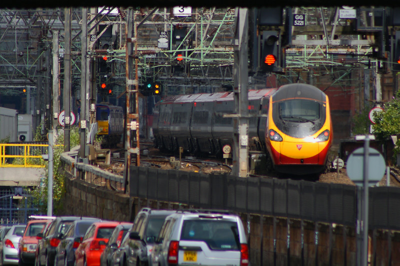 Class 390 Pendolino Bridge Street Junction Glasgow 07/07/2014