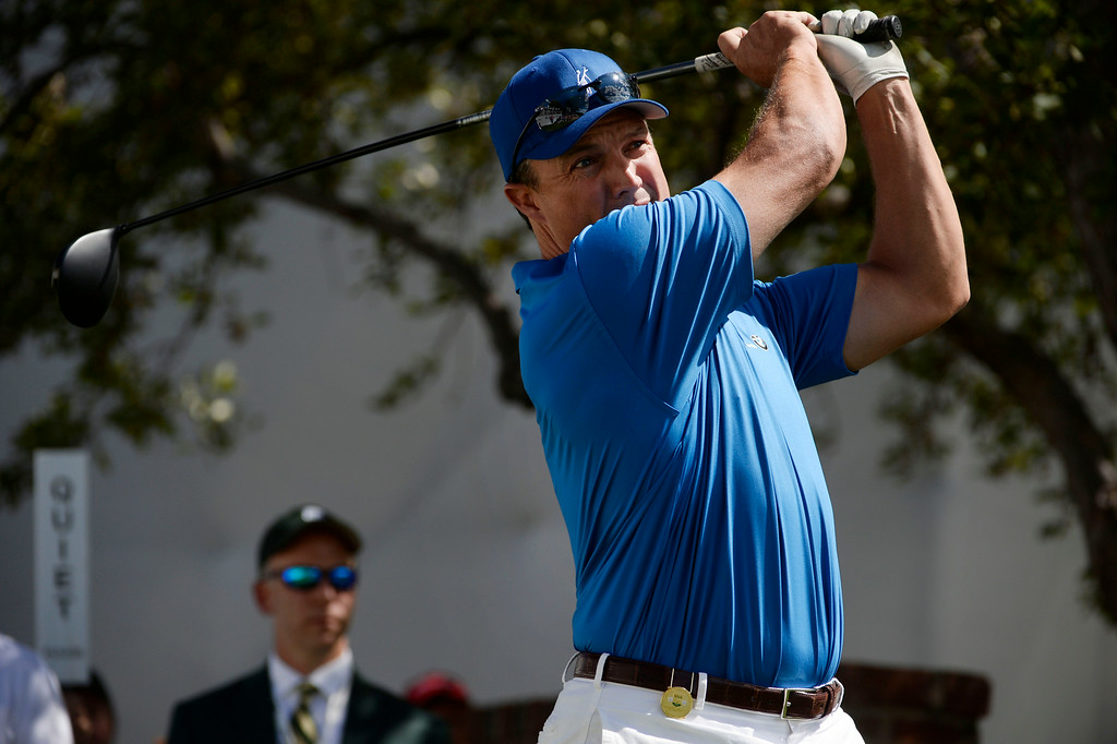 . CHERRY HILLS VILLAGE, CO. - SEPTEMBER 03:  Former Denver Broncos football player, John Lynch, hits his tee shot off the #1 tee box during the FedExCup BMW Championship Pro-Am at the Cherry Hills Country Club Wednesday, September 03, 2014. (Photo By Andy Cross / The Denver Post)