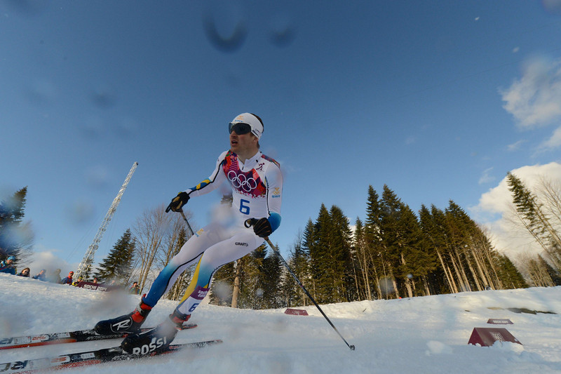 . Silver medalist Sweden\'s Teodor Peterson competes in the Men\'s Cross-Country Skiing Individual Sprint Free Final at the Laura Cross-Country Ski and Biathlon Center during the Sochi Winter Olympics on February 11, 2014 in Rosa Khutor near Sochi . (KIRILL KUDRYAVTSEV/AFP/Getty Images)