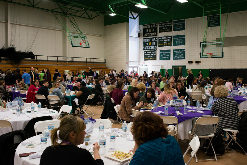 """LANCASTER, OHIO   MARCH 23, 2018: Attendees gathered in the gymnasium during the Celebrate Women Conference 2018, themed """"Recognizing Our Superpowers"""" on March 23, 2018 at Ohio University Lancaster in Lancaster, Ohio.  Ty Wright photo"""