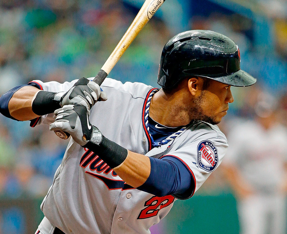 . Twins shortstop Pedro Florimon readies for the pitch in the third inning against the Rays. (Photo by J. Meric/Getty Images)