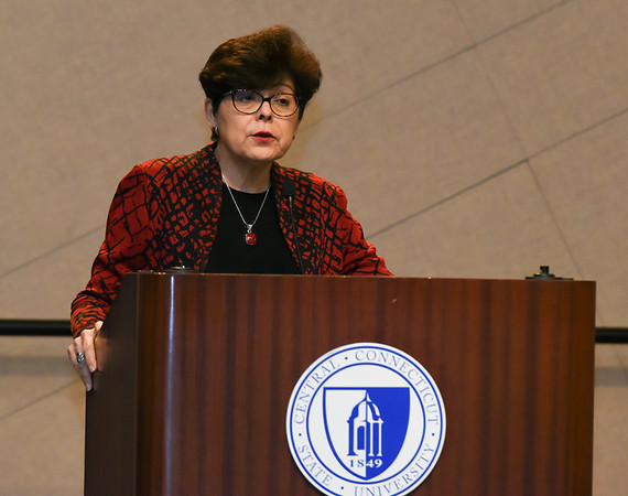 030117  Wesley Bunnell | Staff  CCSU held an informative panel titled Uncertainty around Immigration Law on March 1. CCSU President Dr. Zulma Toro gives an opening remark.