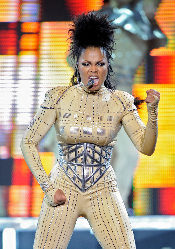 Description of . Singer Janet Jackson performs during her concert, Wednesday, Sept. 17, 2008, in Los Angeles. (AP Photo/Mark J. Terrill)