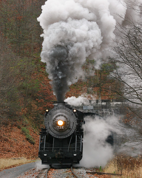 #734 steam train exiting Brush Tunnel Western Maryland Scenic Railroad