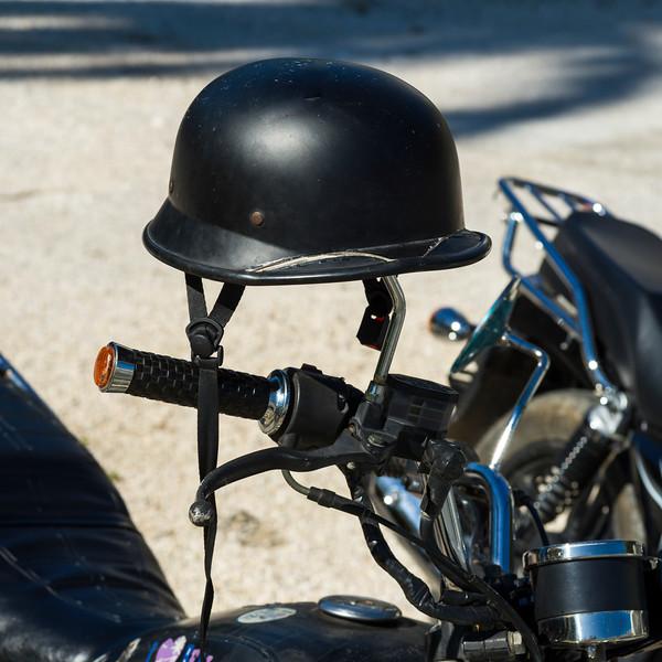 Close-up of helmet on motorbike, Ambergris Caye, San Pedro, Northern Belize, Belize