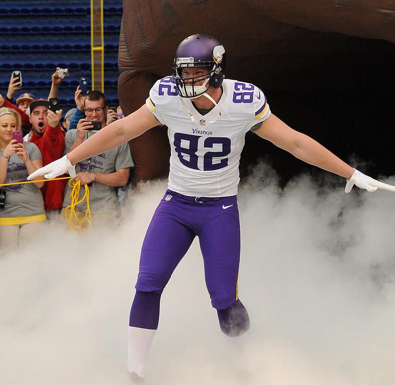 . Minnesota Vikings tight end Kyle Rudolph models one of the new away uniforms. (Pioneer Press: John Autey)