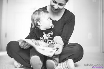 Jen & Max Sabovik Family B&W