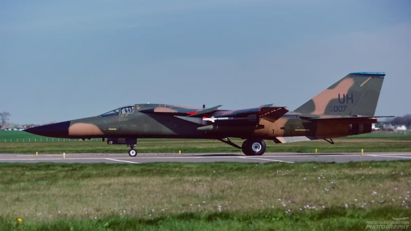 68-007. General Dynamics F111E. USAF. Prestwick. May 1993.