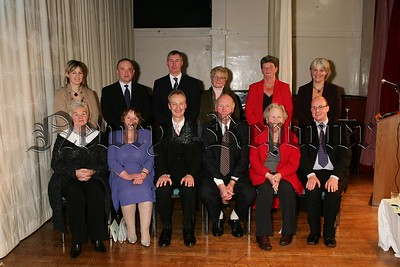 Members of the platform party at the Rathfriland High School prize night. Included are front from left, Pamela Moorhead, Chairman Board of Governors, special guest Helen McClenaghan, SELB Chief Executive, Simon Harper, school principal, guest Cathal McKeever, Sheelagh Wilson and Rev Damian Boyle, Board of Governors. 48-26-06.