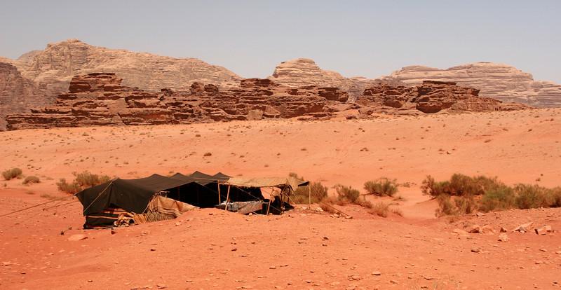 Wadi Rum - View northeastwards from the Bedouin camp at Jebel Khazali.