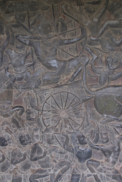 Bas Relief inside Angkor Wat in Cambodia