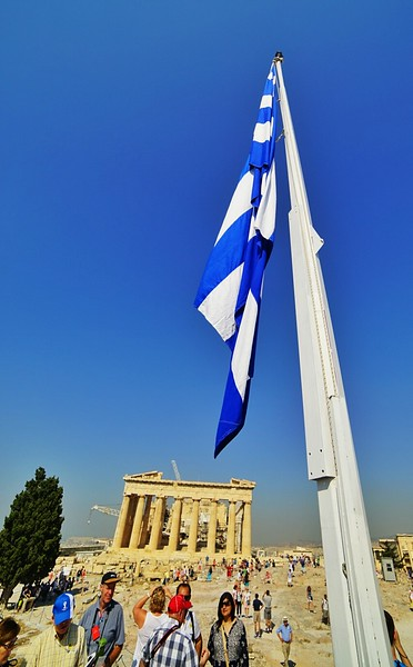 Athens Flag and Acropolis