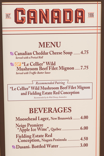 Canada Menu - Epcot Food & Wine Festival 2016