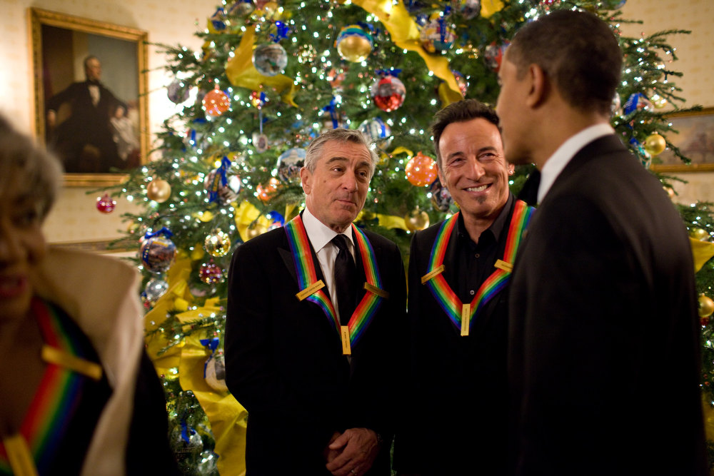 "Description of . Dec. 6, 2009 ""Having seen more than 25 Bruce Springsteen concerts since 1978 and having seen just about every movie Robert DeNiro has ever made, it was a great thrill to be in their presence as the President greeted them before the Kennedy Center Honors at the White House."" (Official White House photo by Pete Souza)"