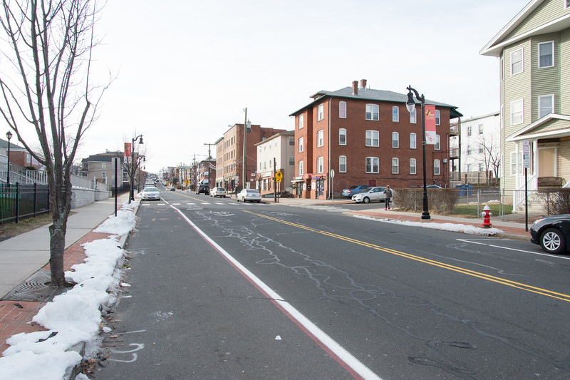 01/28/19  Wesley Bunnell | Staff  Empty street parking spaces are visible in front of Sacred Heart Church, on L, looking up Broad St.
