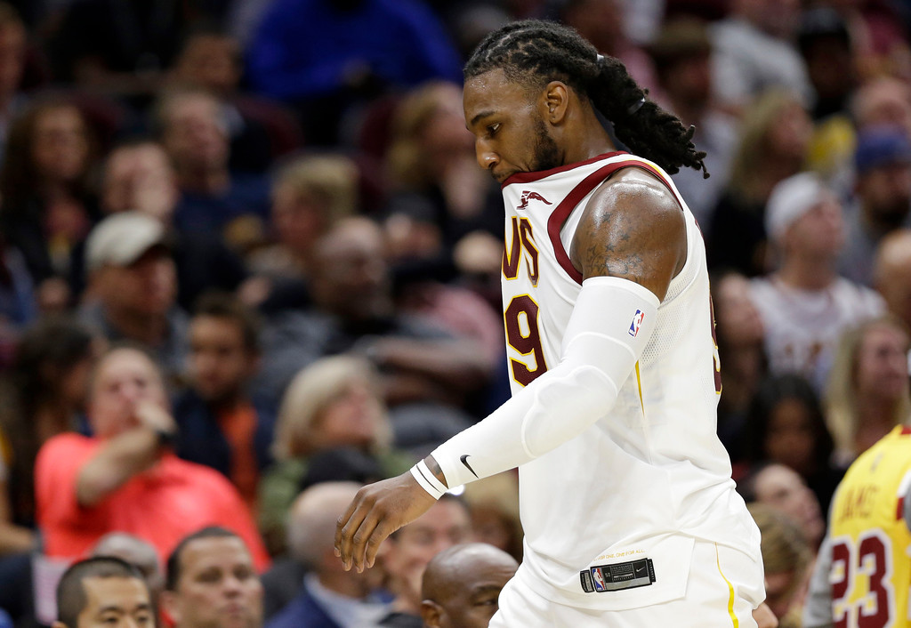 . Cleveland Cavaliers\' Jae Crowder walks to the bench in the second half of an NBA basketball game against the Orlando Magic, Saturday, Oct. 21, 2017, in Cleveland. (AP Photo/Tony Dejak)