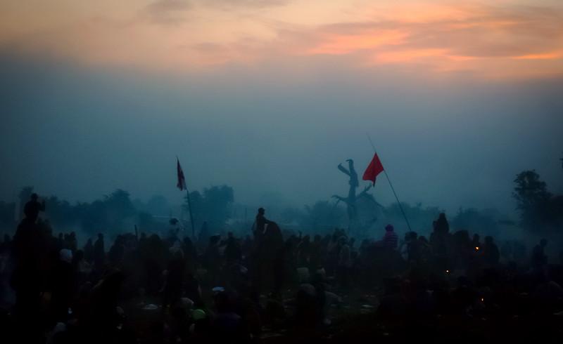 Glastonbury Festival at dawn