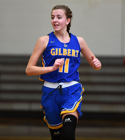 12/31/2019 MIke Orazzi | StaffrGilbert's Samantha Lukowski (11) during Tuesday's girls basketball game in Bristol Central in Bristol.
