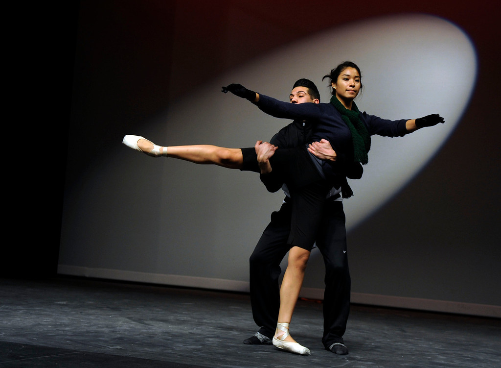 """. Andrea Herrera of Antioch and Ricky Navarro of Pittsburg, members of the Black Diamond Ballet Theatre  rehearse to \""""Let\'s Do It, Let\'s Fall In Love\"""" during a dress rehearsal in preparation for the Jan. 19 opening gala at the restored California Theatre in Pittsburg, Calif. on Tuesday, Jan. 15, 2013.  (Susan Tripp Pollard/Staff)"""