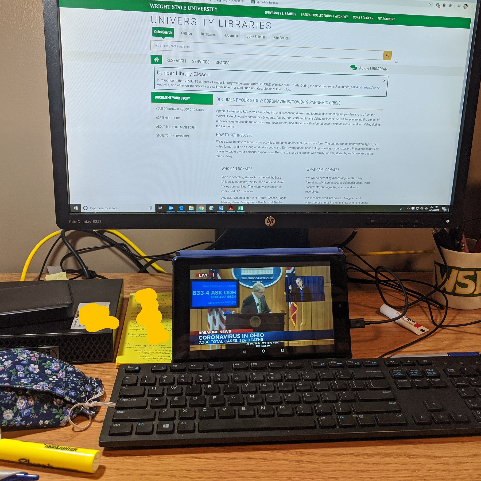 Watching Gov. DeWine on Kindle while working on my work computer, Apr. 14, 2020