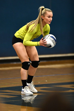 11/1/2019 Mike Orazzi | StaffrBristol Eastern's Rebecca Bender (3) during Friday night's girls volleyball match with Lyman Memorial in Bristol.