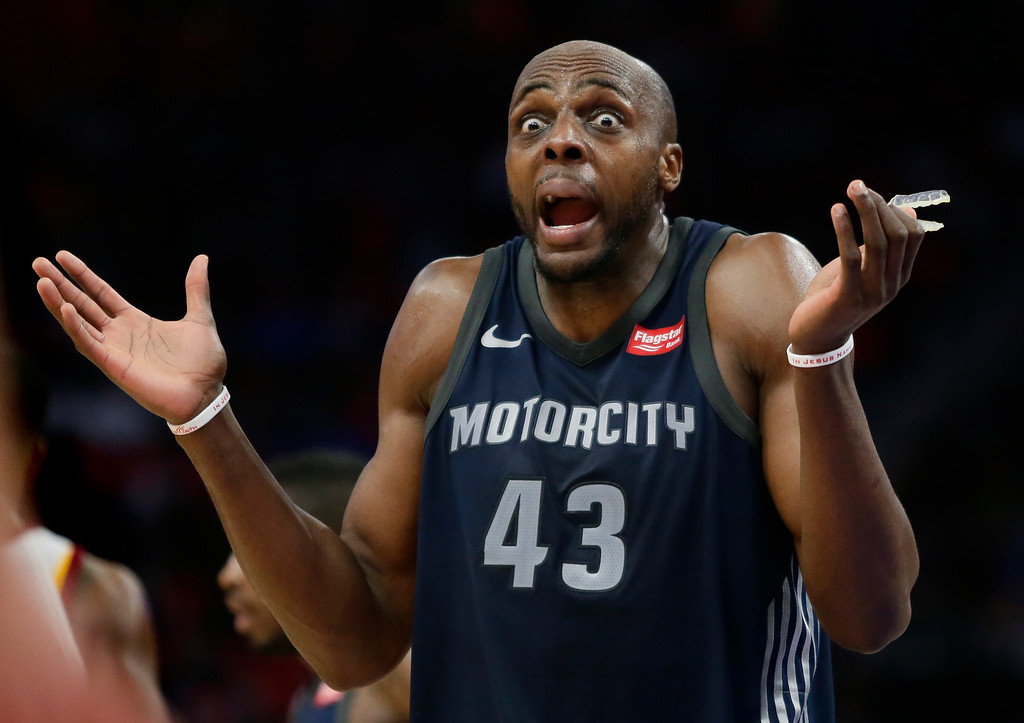 . Detroit Pistons forward Anthony Tolliver (43) reacts after being whistled for a foul during the fourth quarter of an NBA basketball game against the Cleveland Cavaliers, Tuesday, Jan. 30, 2018, in Detroit. The Pistons defeated the Cavaliers 125-114. (AP Photo/Duane Burleson)