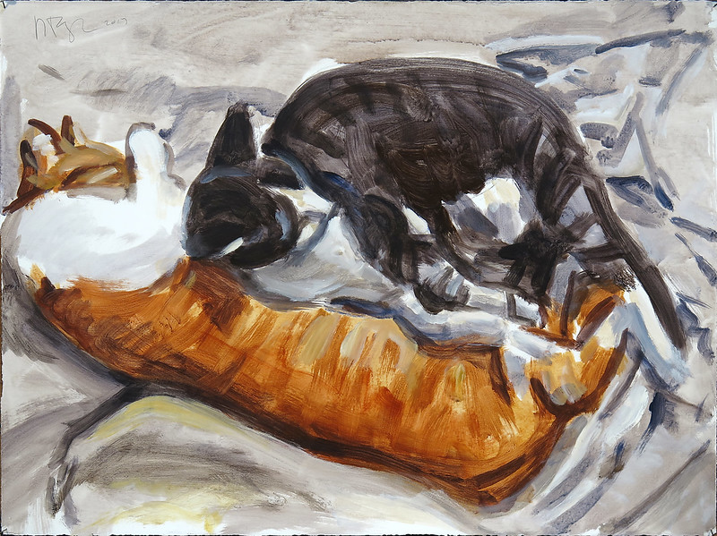 Sleeping Cats; acrylic on paper, 22 x 30 in, 2017