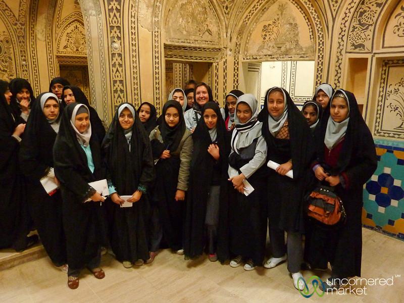 Iranian School Girls with Audrey - Kashan, Iran