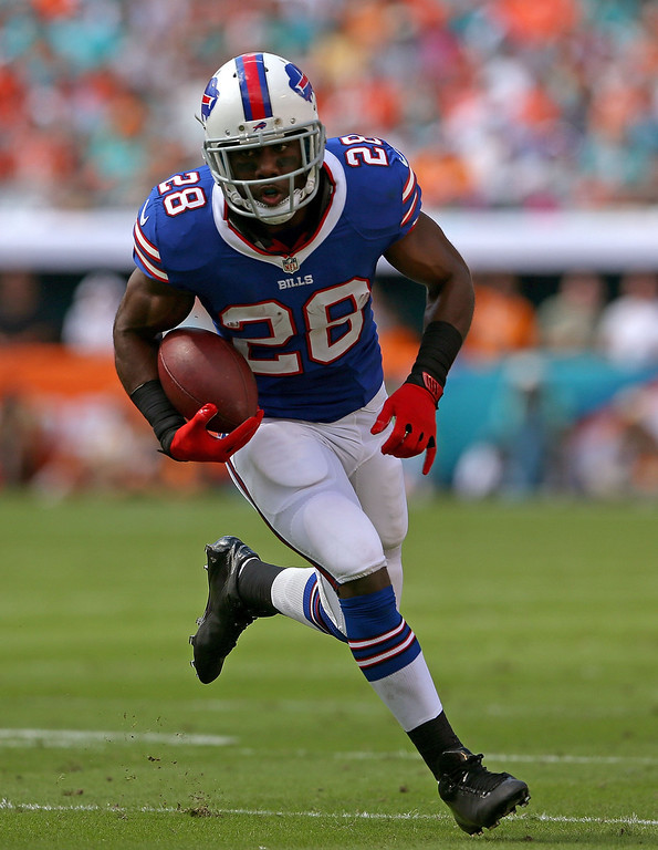 . C.J. Spiller #28 of the Buffalo Bills rushes during a game against the Miami Dolphins at Sun Life Stadium on October 20, 2013 in Miami Gardens, Florida.  (Photo by Mike Ehrmann/Getty Images)