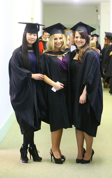 Waterford Institute Of Technology Conferring. Pictured at WIT Waterford Institute Of Technology Conferring are Shu Qi Hao, Waterford, Stephanie Lyons from Laois and Sandra Kurowska who graduated Bachelor of Arts (Honours) in Hospitality Management. Picture: Patrick Browne
