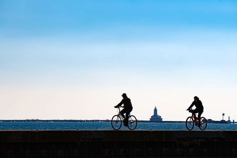 Slice of Life at the Lakefront:  Cyclists to the Beacon