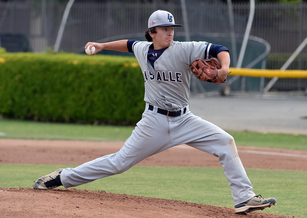 . La Salle starting pitcher Brandon Jenkins throws to the plate against Bishop Amat in the first inning of prep baseball game at Bishop Amat High School in La Puente, Calif., on Tuesday, May 6, 2014. (Keith Birmingham Pasadena Star-News)