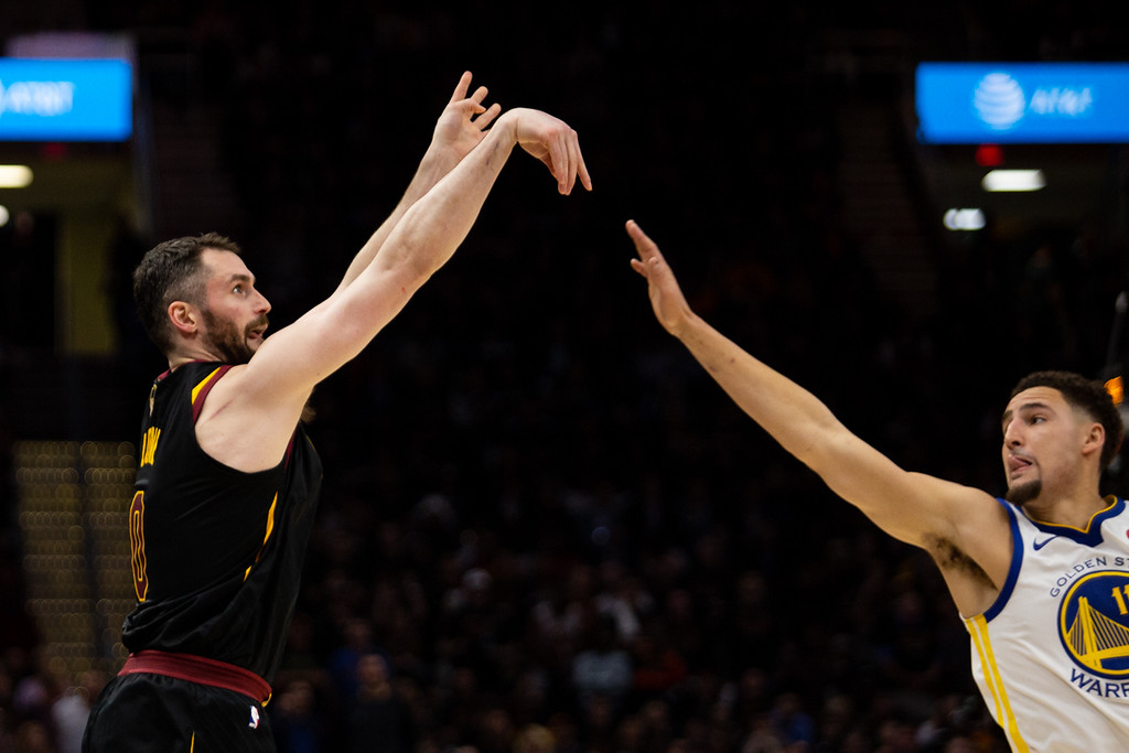 . Kevin Love of the Cleveland Cavaliers takes a shot over Klay Thompson during game 3 of the 2018 NBA Finals in Cleveland on June 6, 2018. Michael Johnson/ The News Herald
