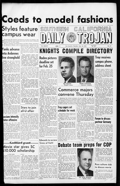 Daily Trojan, Vol. 36, No. 47, January 16, 1945