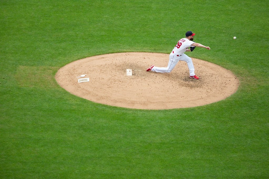 . Korey Kluber of the Cleveland Indians pitches the ball during a regular season game against the Chicago White Sox at Progressive Field on June 20, 2018. The Indians defeated the Sox 12-0. (The Morning Journal/Michael Johnson)