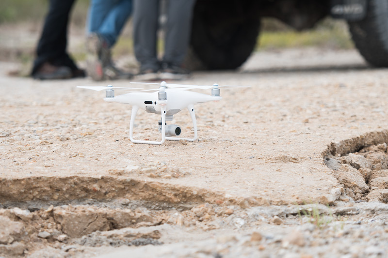 A UAV (Unmanned Air Vehicle) is used to collect aerial images of the Mustang Island marshes.