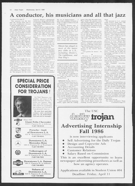 Daily Trojan, Vol. 100, No. 56, April 09, 1986