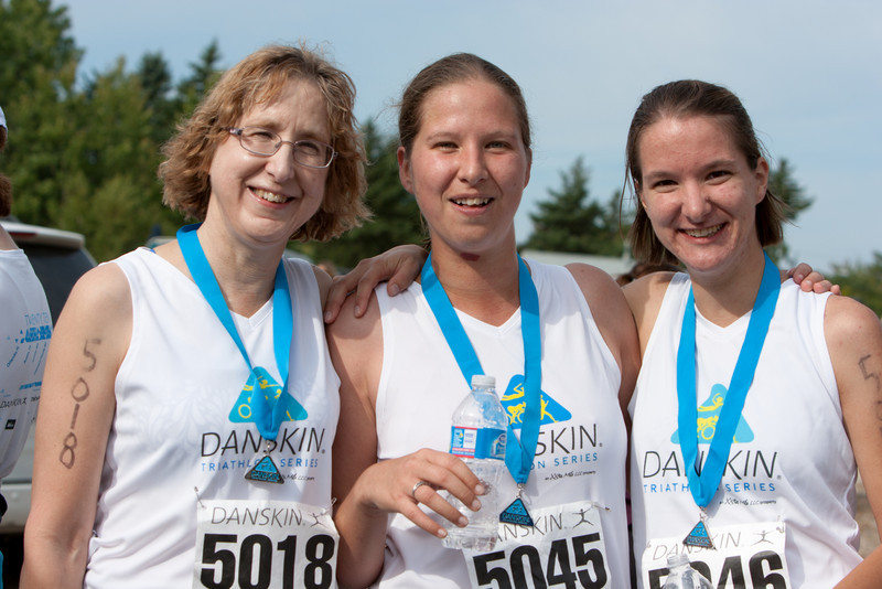 Jonie, Abby, and Gennie after the finish.