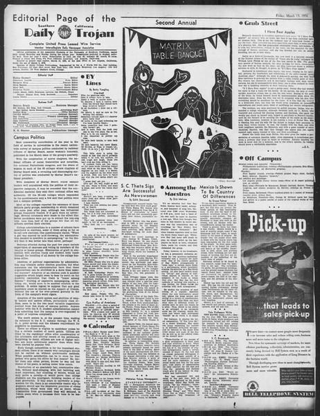 Daily Trojan, Vol. 27, No. 98, March 13, 1936