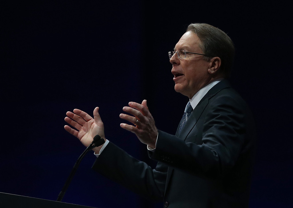 . HOUSTON, TX - MAY 03:  NRA executive vice president Wayne LaPierre speaks during the 2013 NRA Annual Meeting and Exhibits at the George R. Brown Convention Center on May 3, 2013 in Houston, Texas.  More than 70,000 peope are expected to attend the NRA\'s 3-day annual meeting that features nearly 550 exhibitors, gun trade show and a political rally. The Show runs from May 3-5.  (Photo by Justin Sullivan/Getty Images)
