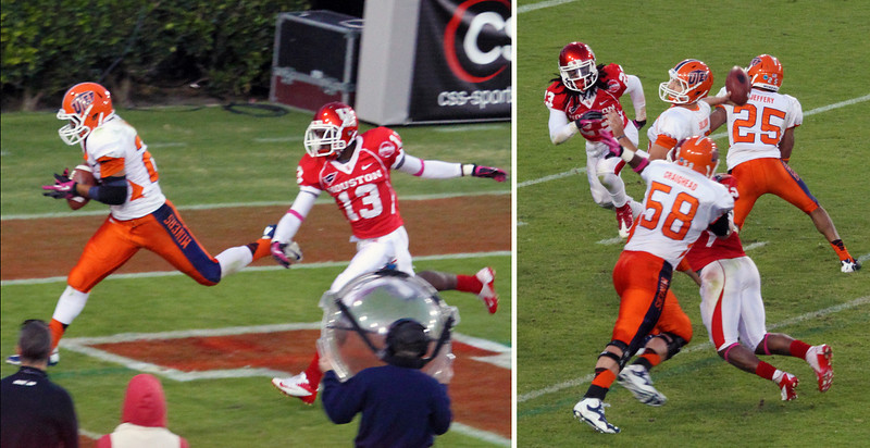Right to left: UTEP touchdown pass