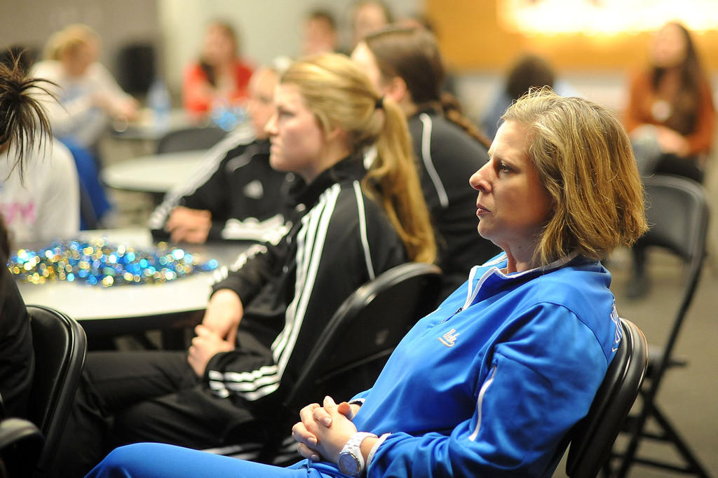 . UCLA Women\'s basketball head coach Cori Close looks on during the NCAA Women\'s Basketball Selection Show Monday March 18, 2013 in Westwood, CA.(Andy Holzman/Los Angeles Daily News)