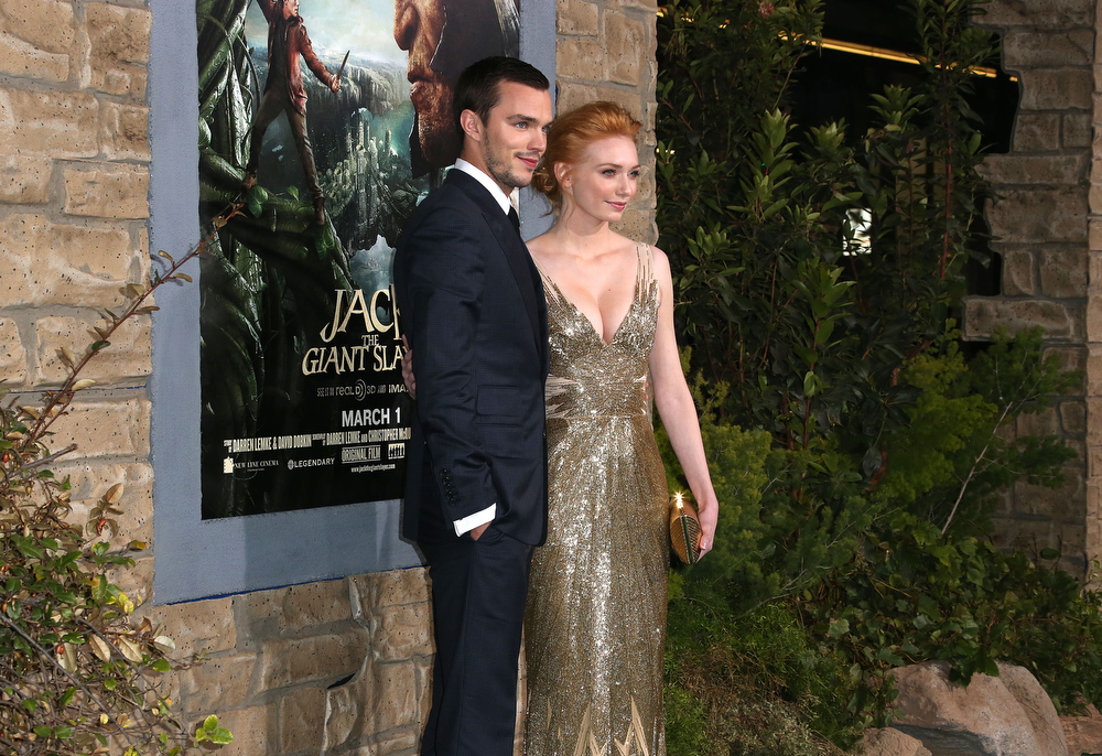 """. Actor Nicholas Hoult (L) and actress Eleanor Tomlinson attend the Premiere Of New Line Cinema\'s \""""Jack The Giant Slayer\"""" at the TCL Chinese Theatre on February 26, 2013 in Hollywood, California.  (Photo by Frederick M. Brown/Getty Images)"""