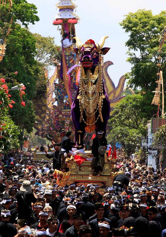 . Balinese men carry a giant sarcophagus in the form of a bull which contains the body of Tjokorda Istri Sri Tjandrawati during a cremation ceremony of a descendant of the Ubud Royal family in Bali, Indonesia, Friday, Nov. 1, 2013. (AP Photo/Firdia Lisnawati)