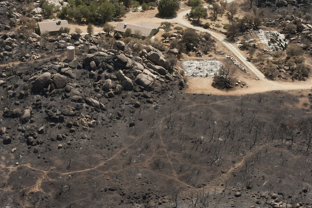 . A charred landscape remains after a wildfire swept through the area, on July 7, 2013 in Yarnell, Arizona. Nineteen firefighters of the Granite Mountain Hotshots crew died battling the fast-moving blaze on Sunday June 30th. A funeral procession in their honor was held today. (Photo by Laura Segall/ Getty Images)
