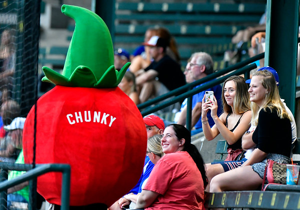 7/6/2019 Mike Orazzi | Staff The Chunky Tomato mascot greets fans at Muzzy Field on Saturday night during the Bristol Blues baseball game.