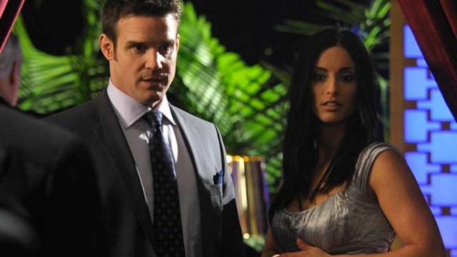 """. \""""Warehouse 13\"""" returns for season 4.5 on Monday. A look back at some guest stars...Eureka\'s Erica Cerra in episode 108, \""""Duped.\"""" SyFy"""