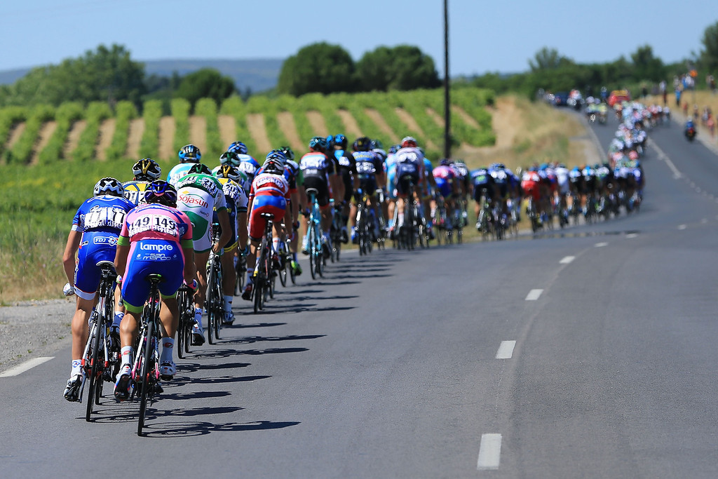 . MONTPELLIER, FRANCE - JULY 05:  The peloton passes through countryside during stage seven of the 2013 Tour de France, a 205.5KM road stage from Montpellier to Albi, on July 5, 2013 in Montpellier, France.  (Photo by Doug Pensinger/Getty Images)